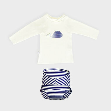 Combi T-Shirt UV + Couche piscine -      Marin Mousse