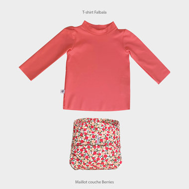 Combi T-Shirt UV Falbala + Couche piscine Berries