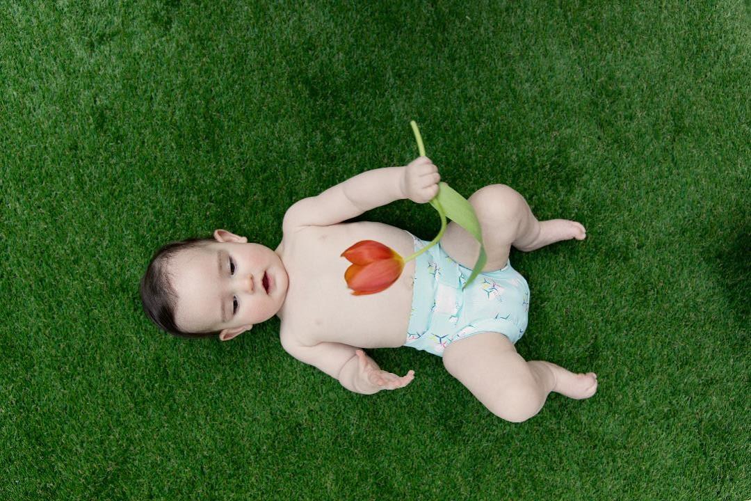 Bébé couche lavable Hamac tulipe gazon